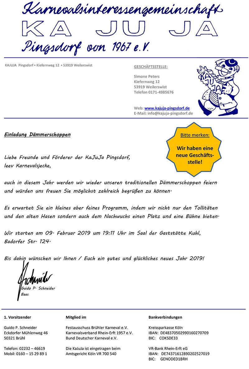 Einladung zum Dämmerschoppen der KAJUJA